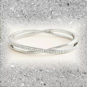 NEW Silver Chico's Eira Pave Hinge Bangle Bracelet